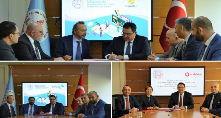 """MEB YEĞİTEK ile GSM operatörleri arasında """"Geniş Bant İnternete Erişim Hizmet Alımı"""" sözleşmeleri imzalandı"""