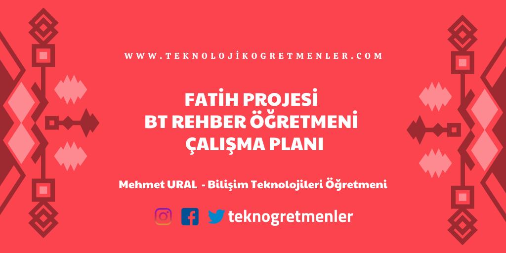 Fatih Projesi Bilişim Teknolojileri Rehber Öğretmeni Çalışma Planı
